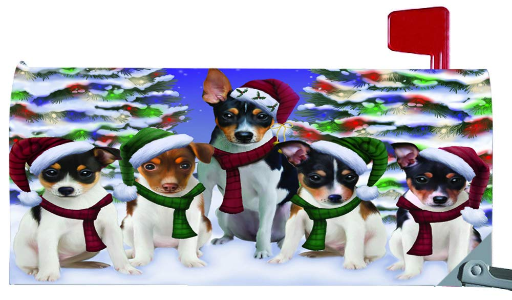 Magnetic Mailbox Cover Rat Terriers Dog Christmas Family Portrait in Holiday Scenic Background MBC48245