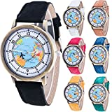 Womens Map Watch,COOKI Unique Quartz Analog Fashion Clearance Lady Watches Female watches on Sale Casual Wrist Watches for Women,Round Dial Case Comfortable Denim Watch-H55