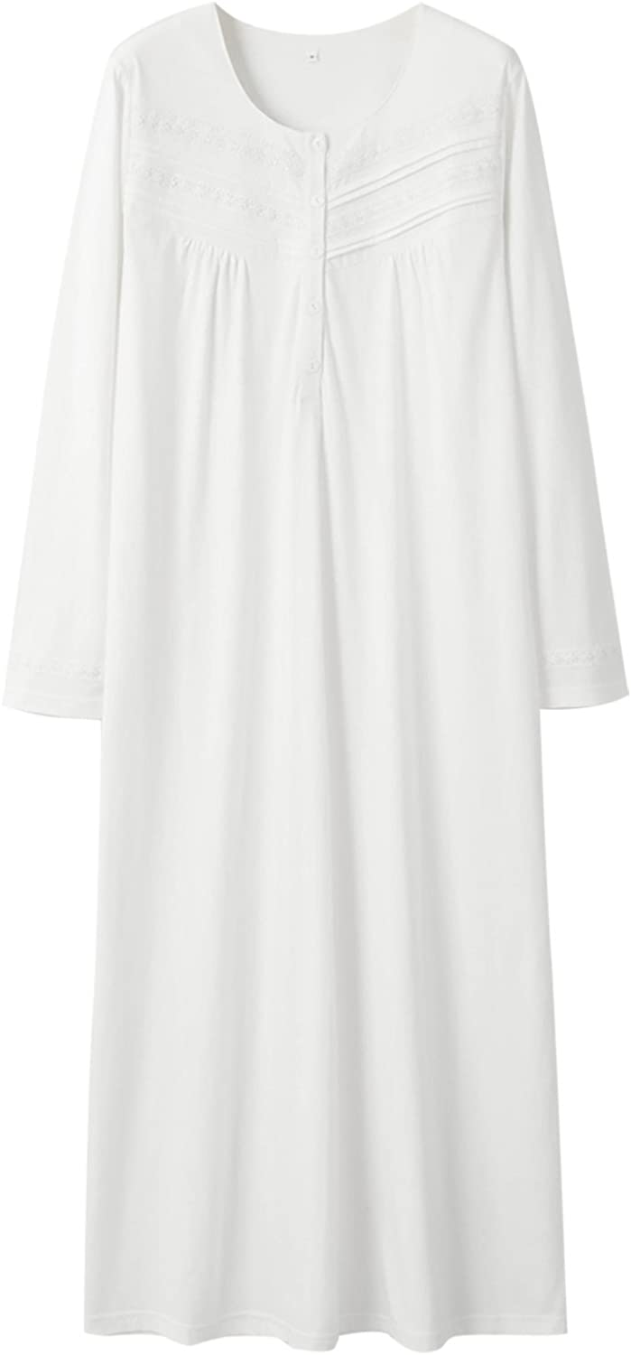Keyocean Nightgowns for Women All Cotton Soft Lightweight Long Nightshirt Sleepwear Lounge-wear for Fall Winter at  Women's Clothing store
