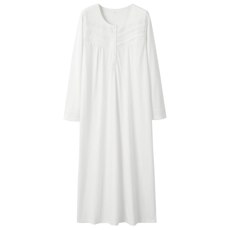 Keyocean Nightgown for Women 100% Cotton Long Sleeves Long Nightshirt, Cream White by Keyocean