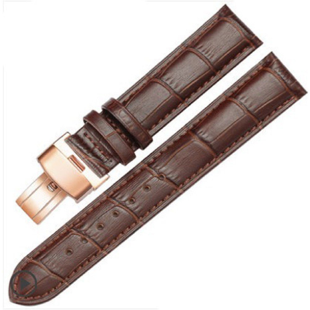 18-24mm New Genuine Leather Rose Gold Quick Release Clasp Wrist Watch Bands Strap Replacement for Gents Mens (23mm, Brown & Brown Line)