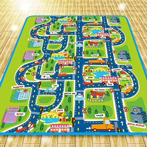 Kids Baby Non-Toxic Road Traffic Car City Town Map Safe Area Game Crawling Play Mat ()
