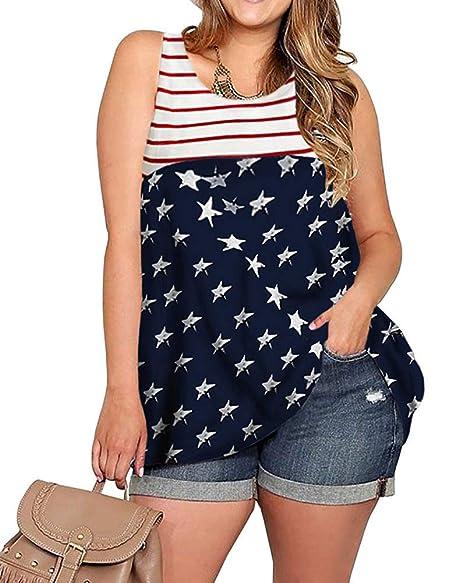 014db08ba1 YONYWA Women Sleeveless Plus Size Tank Top Stars and Stripes American Flag  Racerback Tunic T-