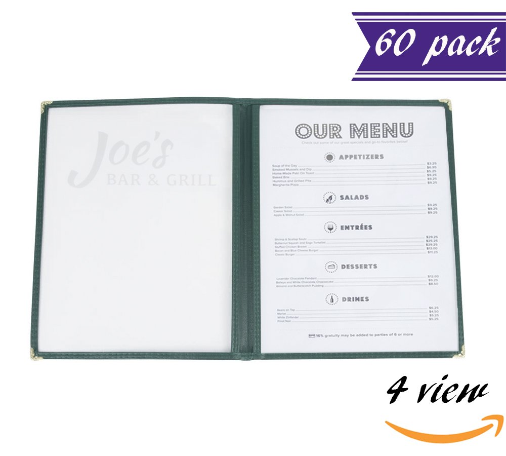 (60 Pack) Double Fold Panels Menu Covers, Green, 8.5 x 11-inches Insert, 4 View, Restaurant Menu Covers with Double Stitched Binding and Protective Corners