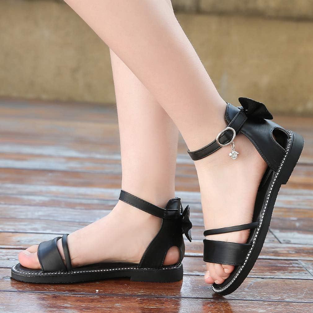 LHZZE Girls Bow Flat Sandals Summer Open Toe Ankle Strap Dress Sandals for Kids Toddler//Little Kid