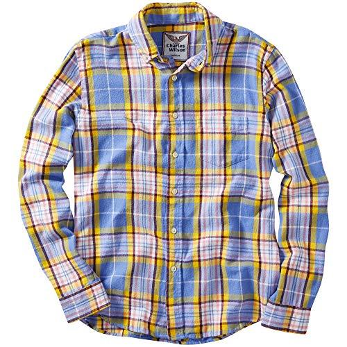 8626ac909a1c1 Charles amp  Cuadros Pink Blue De Camisa Wilson Larga Franela Hombre Manga  Para r6vrqI