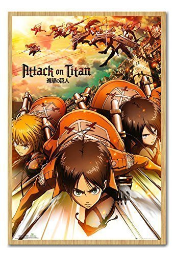 Attack On Titan Japonés Manga Cartel Pizarra Magnética Marco ...