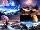 painting a bedroom  Purple Canvas Prints Wall Art Fantastic Outer Space Universal Pictures Paintings for Bedroom Office Home Decorations Modern Abstract 4 Pieces Stretched and Framed HD Giclee Artwork