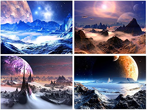 Purple Canvas Prints Wall Art Fantastic Outer Space Universal Pictures Paintings for Bedroom Office Home Decorations Modern Abstract 4 Pieces Stretched and Framed HD Giclee Artwork