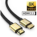 SIKAI MOSHOU Ultra High Speed HDMI 2.1 Cable 8K 60Hz, 4K 120Hz, 3D Ultra HDR 48Gbps HiFi eARC Dolby Atmos HDCP2.2 HDMI Cable Compatible with Apple TV Samsung QLED 8K Q900 TV Fire TV (9 Feet/3 Meters)