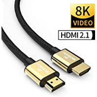 SIKAI MOSHOU Ultra High Speed HDMI 2.1 Cable 8K 60Hz, 4K 120Hz, 3D Ultra HDR 48Gbps HiFi eARC Dolby Atmos HDCP2.2 HDMI Cable Compatible with Apple TV Samsung QLED 8K Q900 TV Fire TV (3 Feet)