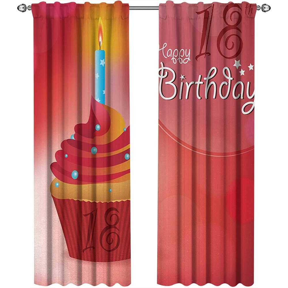 18th Birthday, Curtains Energy Efficient, Sweet Eighteen Party Birthday Cupcake with Candles Artwork Print, Curtains for Living Room, W96 x L96 Inch, Hot Pink Red and Orange by Returiy