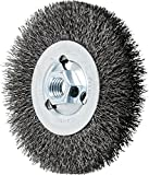 PFERD 80024 Crimped Wheel Brush, Carbon Steel Wire, 4-1/2'' Diameter, 5/8-11 Thread, 0.014 Wire Size, 15/16'' Trim Length, 1/2'' Face Width, 12500 RPM