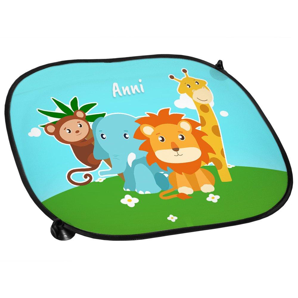 Sonnenblende Auto-Sonnenschutz mit Namen Anni und Zoo-Motiv mit Tieren f/ür M/ädchen Sichtschutz Auto-Blendschutz
