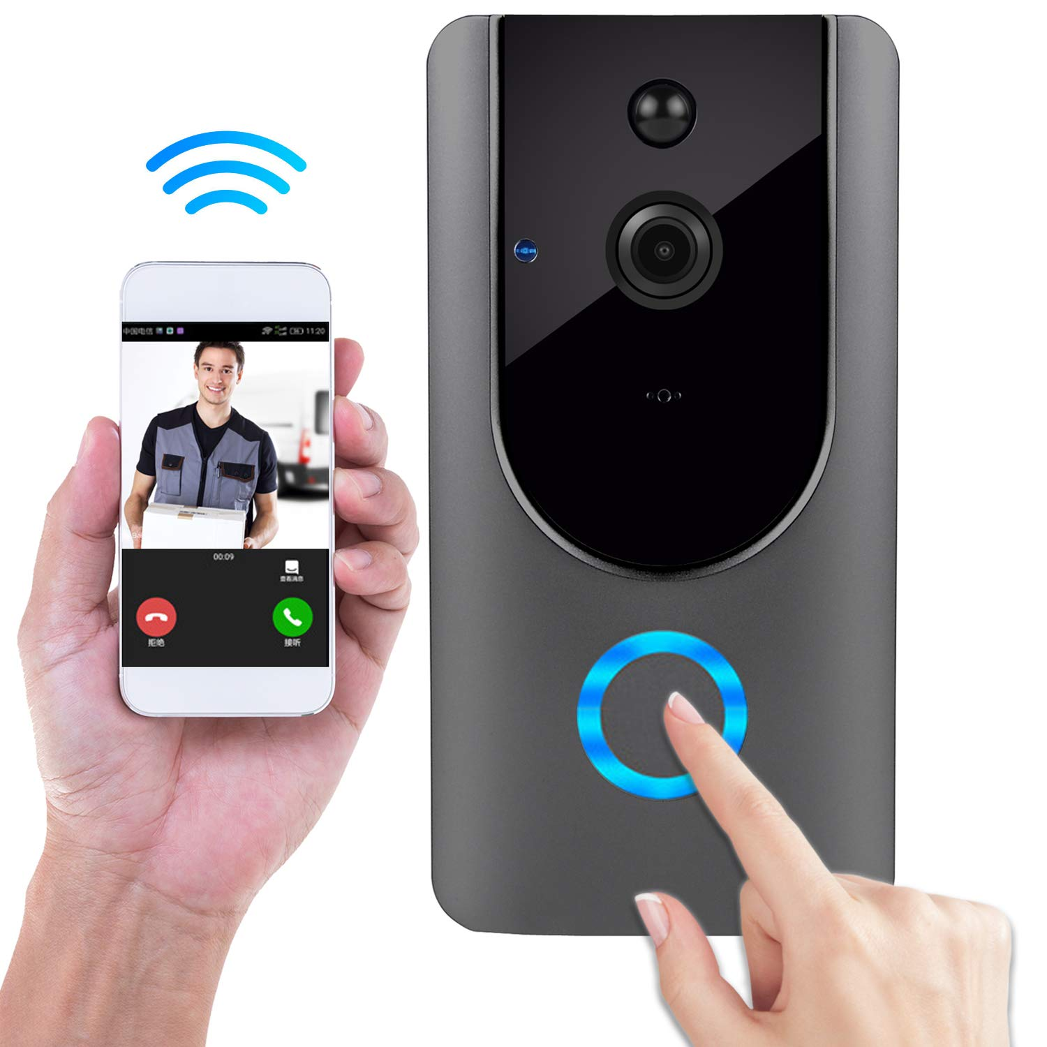 Wireless Doorbell, Smart Door Bells Home Security Bell Camera with Battery, Real-Time Video and Two-Way Talk Night Vision PIR Motion Detection by Lenyes