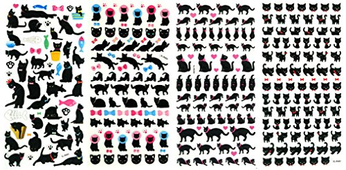 3D-SET031-BLACKCAT - 4 Sheets Black Cat Sticker Doll 3D Puffy Adhesive Sticker Scrapbooking For Girl (Size 3. 5 X 7.25 Inch./sheet), 291 (Zombie Dress Up Ideas)