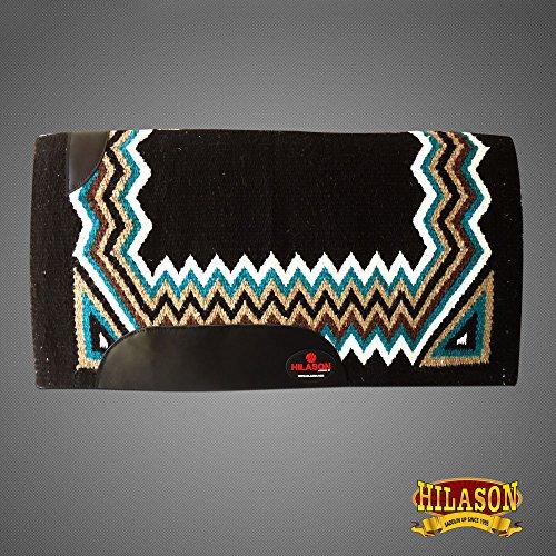 HILASON Western New Zealand Wool Horse Saddle Blanket Black Turquoise Brown