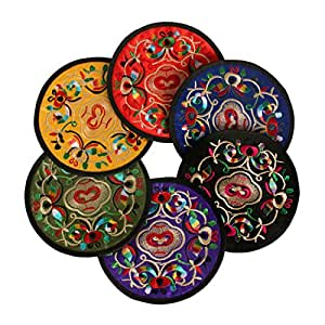 6 Pack Classic Embroidery for Coasters Drinks BYBD-01