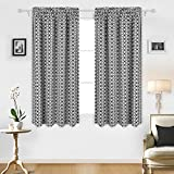 Deconovo Diamond Petals Print Blackout Curtains Thermal Insulated Window Curtain Rod Pocket Room Darkening Curtains for Windows 52×63 Inch Black and White One Pair Review