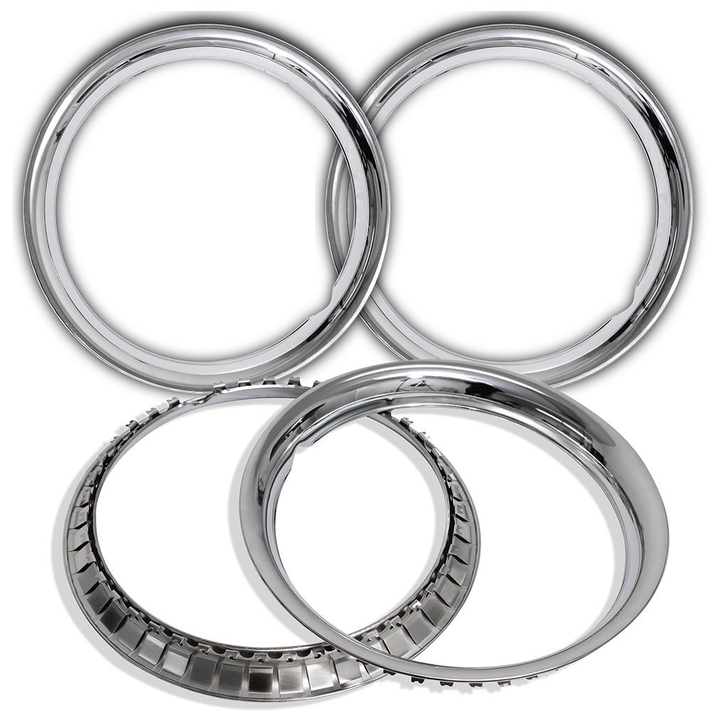 4 Pc Set New 15' Chrome Steel Wheel Trim Rings Beauty Glamour Rim Edge Bands DK IWC TR 1515C