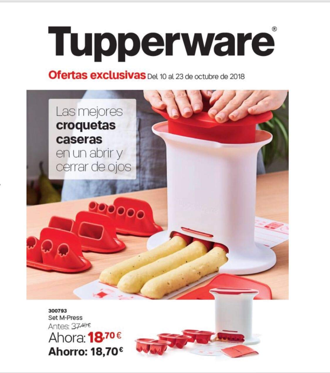 Tupperware gnocci Maker/gnocci Press (4 nozzles, White red) Tuperware tz765