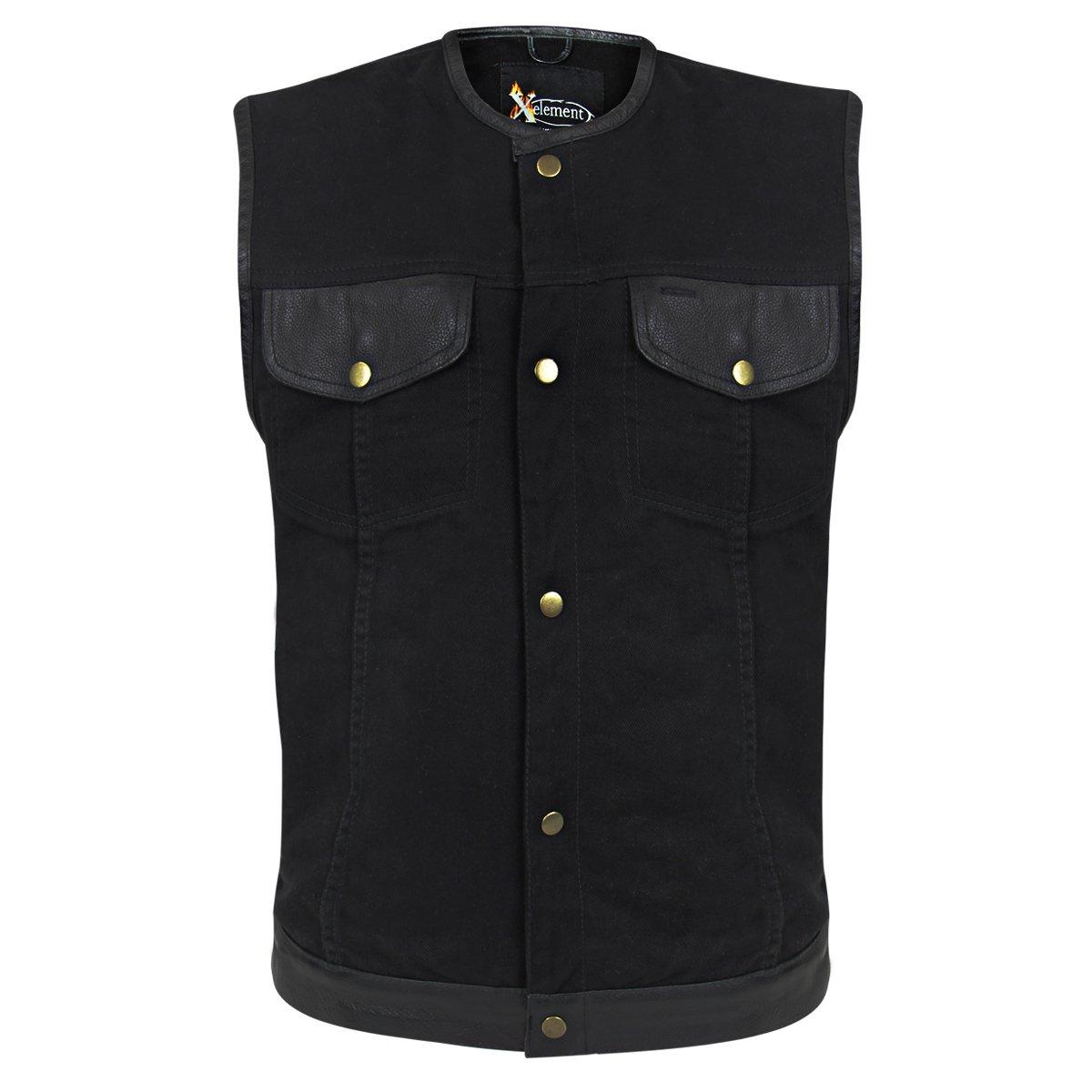 Xelement Mens Black Denim Lace Gun Pocket Vest - 5X-Large