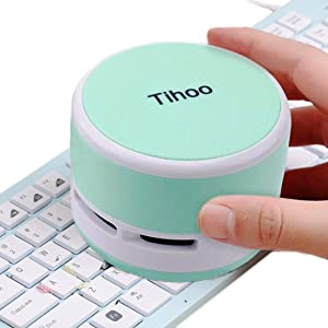 Tihoo Keyboard Vacuum Cleaner Office Gadgets Computer Desktop Table Dust Sweeper for Counter Crumbs Collector for Eraser Shaving Table Cleaner for Kitchen Women/Students Mint Green