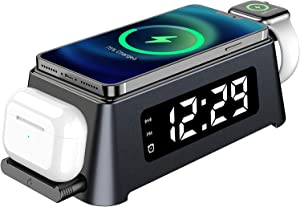 LED Digital Clock 2021 New Version Fast Wireless Charging Station for Multiple Devices,3 in 1 Wireless Charger Compatible with iPhone,Apple Watch & AirPods (Apple Watch Charging Cable not Included)
