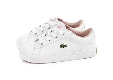 b4a5e8a26 Lacoste Infant Girls Lerond Trainers in White Pink- Lace Fastening ...