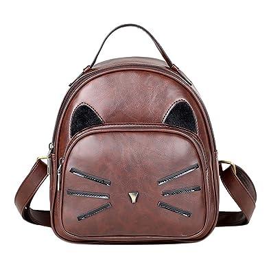 Broadroot Mochila Mujer Bolso de la escuela mochila impresa gato de dibujos animados de cuero de