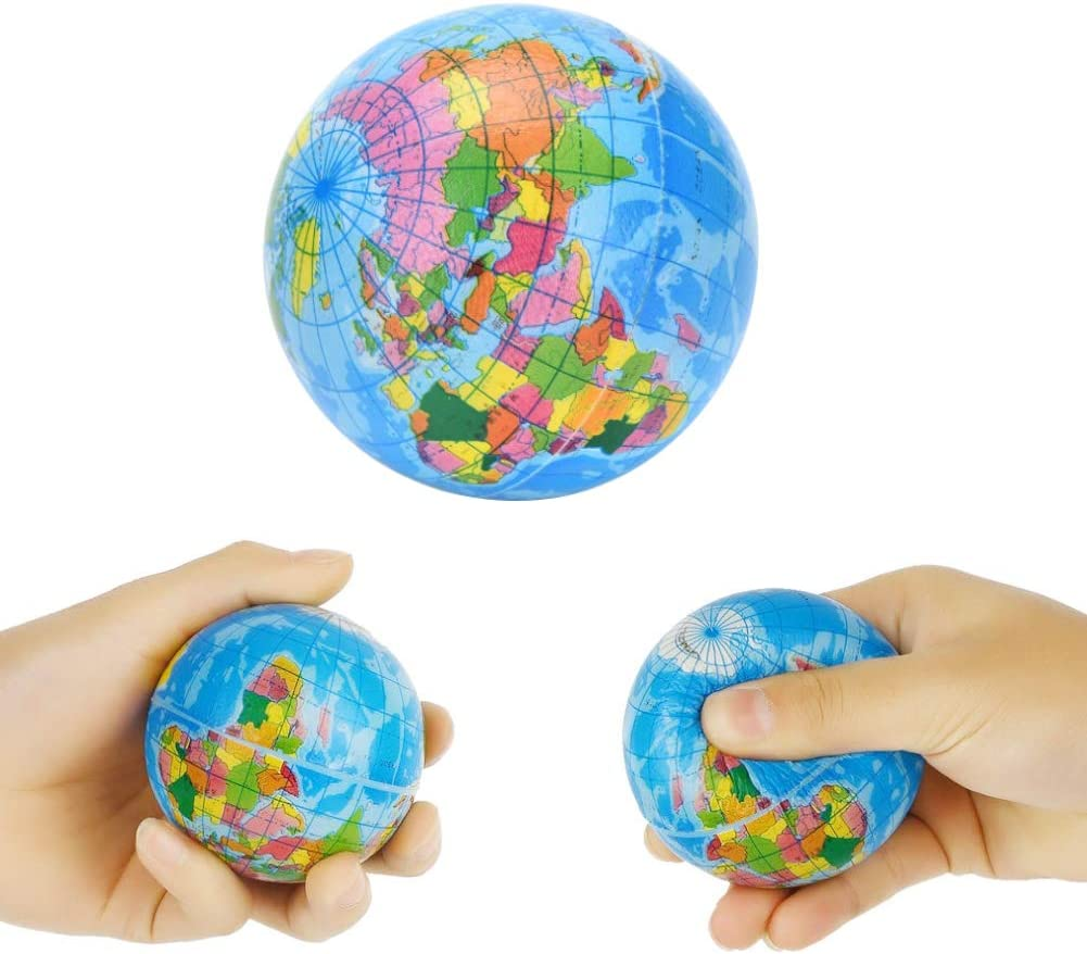Koogel 2.5 Inch Globe Squeeze Stress Balls, 24 Pcs Earth Ball World Stress Balls Stress Relief Toys Therapeutic Educational Balls Bulk
