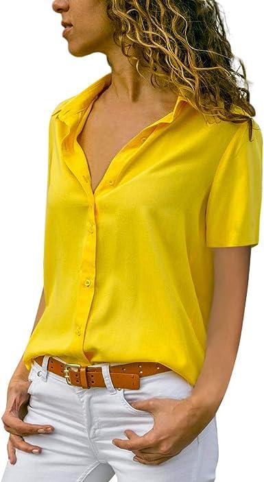 Luckycat Camisetas de Mujer, Verano Camiseta de Mujer Tops Moda Casual Cuello V Color Sólido Manga Corta Gasa Blusa Elegante Camisetas Mujer Camisa de Oficina Simple: Amazon.es: Ropa y accesorios
