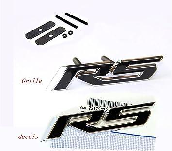 Black 1Pcs Grille Rs R S Emblem Badge 3D Logo Allloy Stciker Nameplate Replacement for Camaro Gm Series