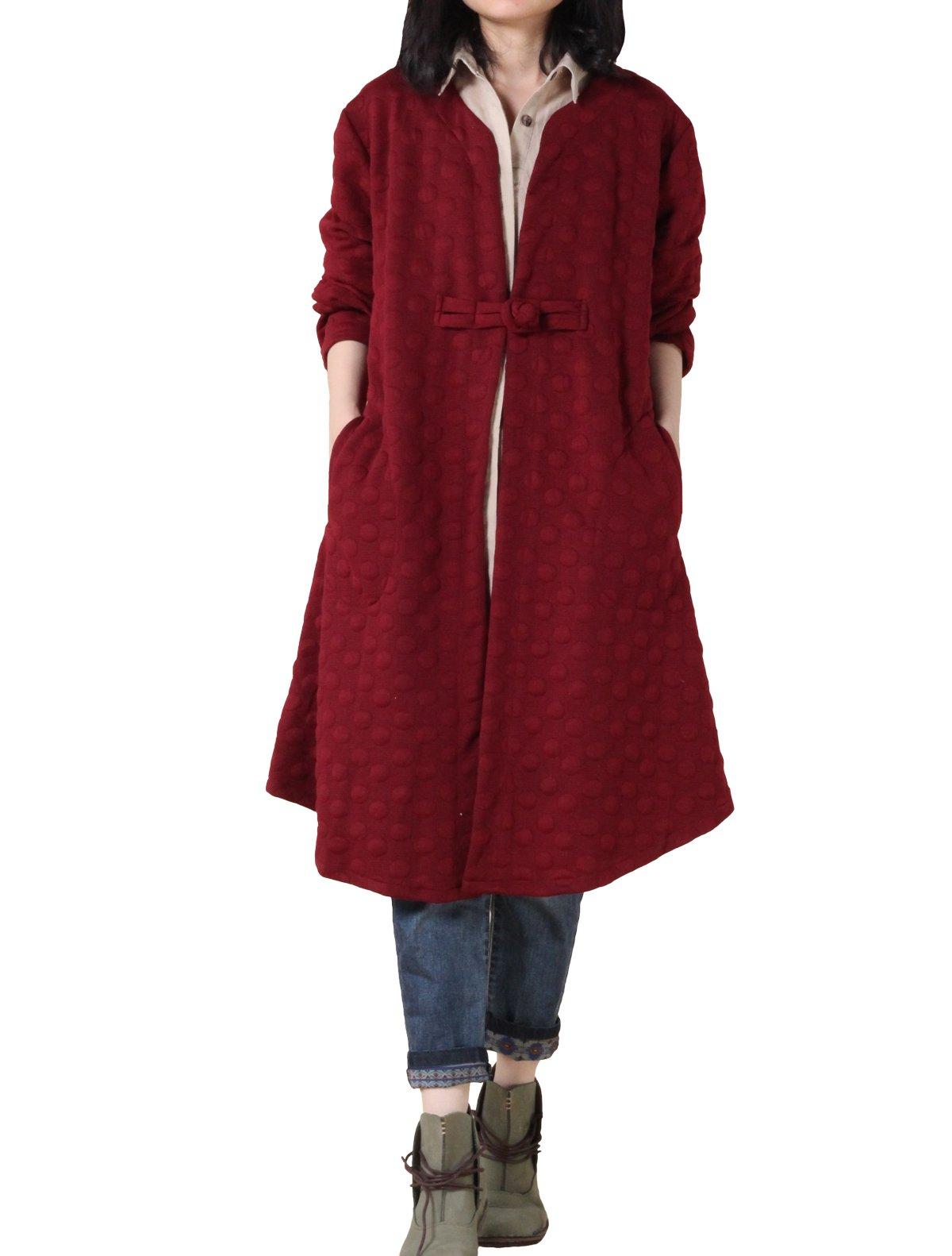 Minibee Women's Autumn Jacquard Classic Button Coat Style 1 Wine L