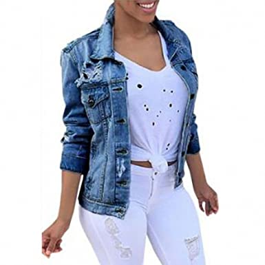 Sexy Ripped Jeans Jackets Women NEW New Blue Denim Jackets And Coats Long Sleeve High Street