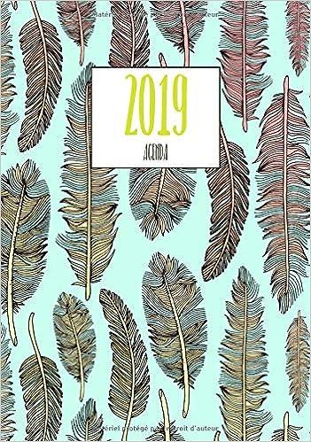 Agenda 2019: Motif plumes, Organiseur personnel. Agenda ...