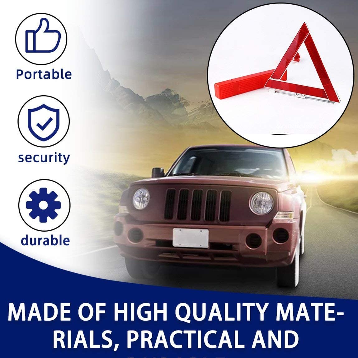 SeniorMar Car Vehicle Emergency Breakdown Warning Sign Triangle Reflective Road Safety Foldable Reflective Road Safety