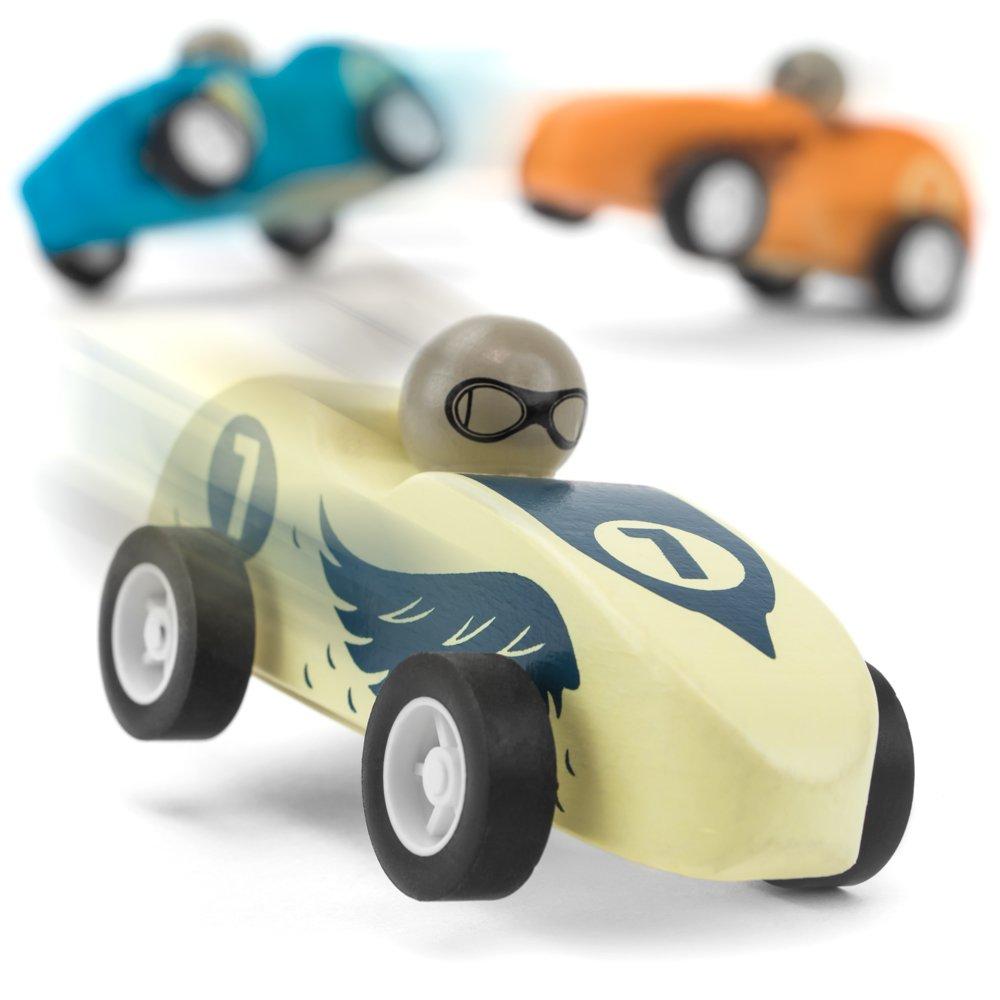 Wooden Wonders Pack of 3 Pull-Back Derby Racers Predators Pack by Imagination Generation