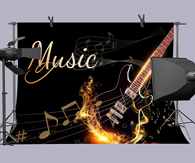 10x15ft Flame Guitar Backdrop Photography Background Photo Studio Props HXFU060