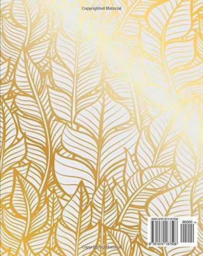 Ruled Journal Pretty Design Feathers Bohemian Notebook Notebook: Golden Notebook size 8 x 10