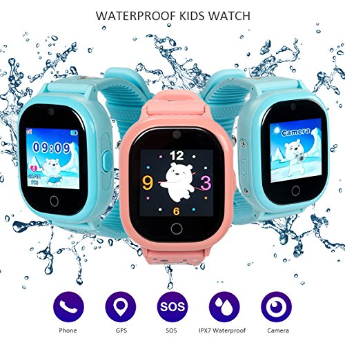 Dxrise Waterproof Smart Watch for kids Games GPS tracker watch phone gps smartwatch kids watches smart baby watch with camera Baby monitor function for girls boys toys gift