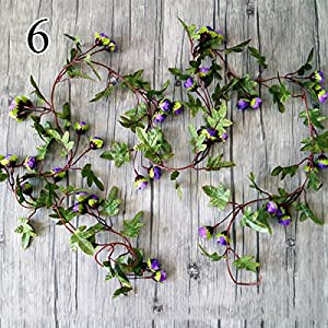 FYYDNZA 1Pcs Autumn Simulation Rose Vine Wedding Decoration Fake Flowers Small Rose Rattan For The Garden And The Garden,6 118
