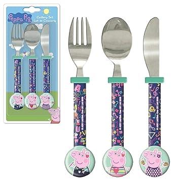 Peppa Pig Niños Cubiertos 3 Piezas | Cuchillo, Tenedor ...