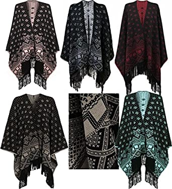 New Womens Aztec Knitted Pattern Tassel Top Cape Ladies Poncho Wrap
