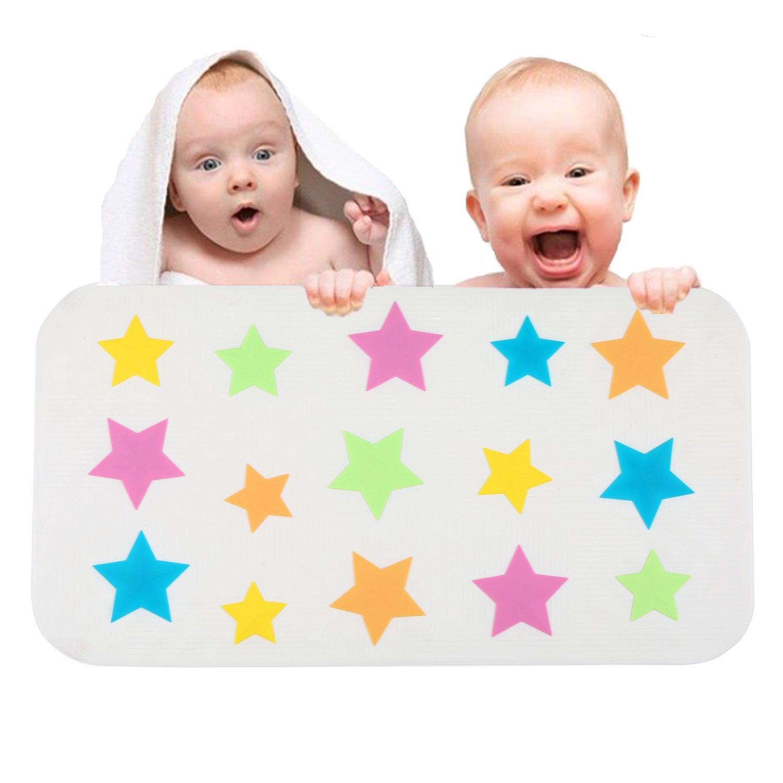 Aprice Baby Kids Bathtub Mat Non Slip Shower Bath Mat Mildew Resistant for Child Anti-Bacterial Star