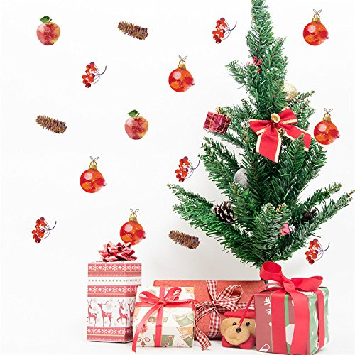 VancyTop Christmas Day Cute Mini Apple Bells Pattern DIY Removable Wall Stickers for Home Kids' Room Nursery Decorations Self-adhesive Wall Decals 30pcs/set (Nursery Furniture Modern Sets Uk)