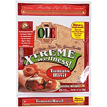 Ole Xtreme Wellness Tomato & Basil Tortilla Wraps, 8ct Packs - 6 Pack Case