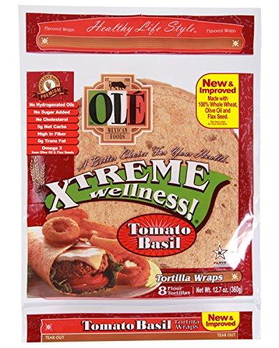 Ole Xtreme Wellness Tomato & Basil Tortilla Wraps, 8ct Packs - 6 Pack Case