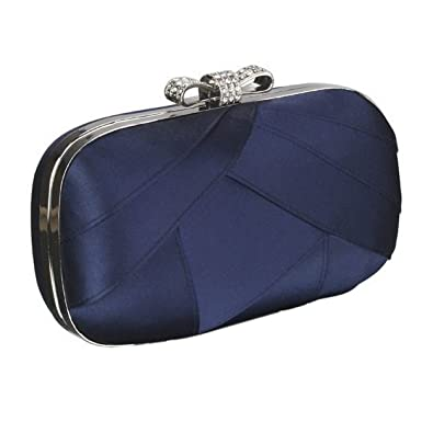32bb89e3b9 Satin Clutch Evening Bag With A Crystal Bow And A Long Chain (Navy Blue)   Amazon.co.uk  Shoes   Bags