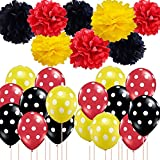 Mickey Mouse Party Supplies Red Black Yellow Tissue Paper Pom Pom Polka Dot Balloons for Ladybug Party Supplies Birthday/Gender Reveal/Baby Shower/Wedding Minnie Mouse Party Supplies